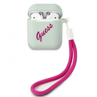 Guess Apple Airpods Cover Blau Pink Silicone Vintage Schutzhülle Tasche Case