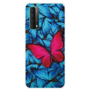 Für Huawei P Smart 2021 Silikon TPU Red Butterfly Handy Hülle