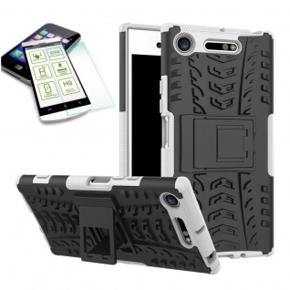 Hybrid Case 2 teilig Weiß für Sony Xperia XZ1 Hülle + 0, 3 H9 Hartglas Tasche - Vorschau 2