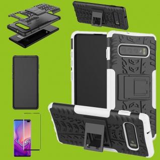 Hybrid Tasche Etuis Hülle Weiß für Samsung Galaxy S10 Plus + 4D H9 Curved Glas