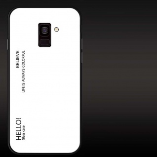 Für Samsung Galaxy J4 Plus J415F Color Effekt Glas Cover Weiß Tasche Hülle Case