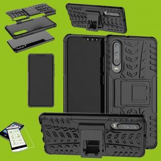 Für Huawei P30 Hybrid Tasche Cover Outdoor 2teilig Schwarz Etui Hülle + H9 Glas