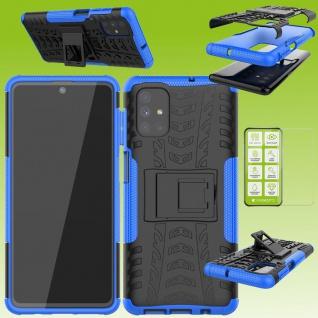 Für Samsung Galaxy M51 M51F Hybrid Handy Tasche Outdoor Blau + H9 Glas Hülle Neu
