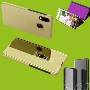Für Samsung Galaxy A50 6.4 Clear View Smart Cover Gold Etui Tasche Hülle Wake UP