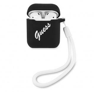 Guess Apple Airpods Cover Schwarz Weiß Silicone Vintage Schutzhülle Tasche Case