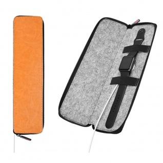 Kunstleder Tasche für Apple Watch Orange Wolle Schutz Etui Tasche Halter Zubehör