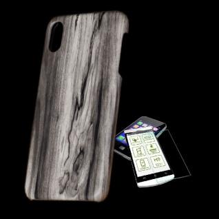 Für Apple iPhone XS MAX Tasche Holz Muster 6 Hart Cover + H9 Glas Case Schutz