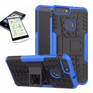 Für Huawei P Smart Hybrid Tasche Case Outdoor 2teilig Blau Hülle + H9 Glas Hülle