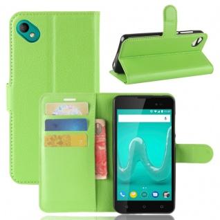 Tasche Wallet Premium Grün für Wiko Sunny 2 Plus Hülle Case Cover Etui Schutz