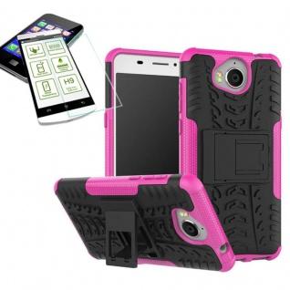 Hybrid Case Tasche Outdoor 2teilig Pink für Huawei Y6 2017 Hülle Hartglas Neu