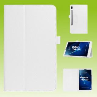 Für Samsung Galaxy Tab S7 T870 / T875 Weiß Kunst Leder Hülle Tablet Tasche Etuis