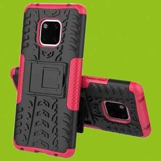 Für Huawei Mate 20 Pro Hybrid Case 2teilig Outdoor Pink Tasche Cover Hülle Case
