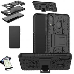 Für Samsung Galaxy M20 Hybrid Tasche Outdoor 2teilig Schwarz + H9 Glas Etuis Neu - Vorschau 2