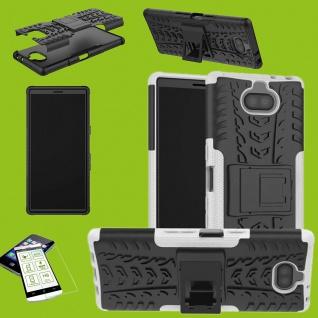 Für Sony Xperia 10 Hybrid Case 2 teilig Weiß Hülle + 0, 3 mm H9 Glas Tasche Etuis