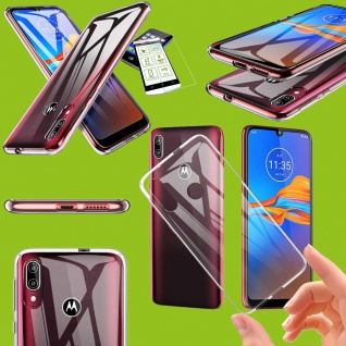 Für Motorola Moto E6 Plus Silikon Transparent + H9 Glas Handy Tasche Etuis Cover