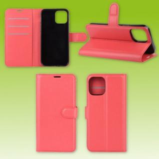 Für Apple iPhone 12 Mini Handy Tasche Wallet Rot Etuis Kunst-Leder Hülle Case
