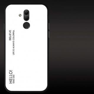 Für Huawei Mate 20 Lite Color Rainbow Effekt Glas Cover Weiß Tasche Hülle Case