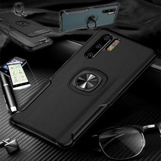 Für Huawei P30 Lite Hybrid Magnet Metall Ring Tasche Schwarz + H9 Glas Etuis Neu