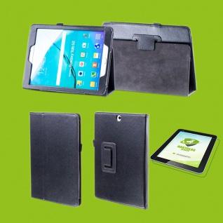 Für Samsung Galaxy Tab A 10.1 2019 T510 Schwarz Etuis Tasche Kunst Leder + Glas