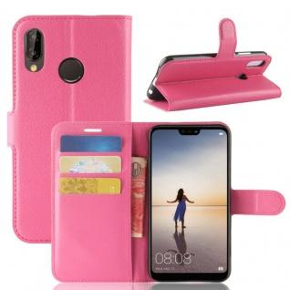 Tasche Wallet Premium Pink für Huawei P20 Lite Hülle Case Cover Schutz Schale