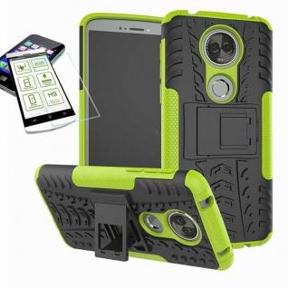 Für Motorola Moto E5 Plus Hybrid Tasche Outdoor 2teilig Grün Hülle + H9 Glas Neu