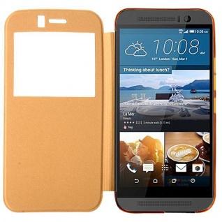 Smartcover Window Gold für HTC One 3 M9 Tasche Cover Case Hülle Etui Zubehör Neu