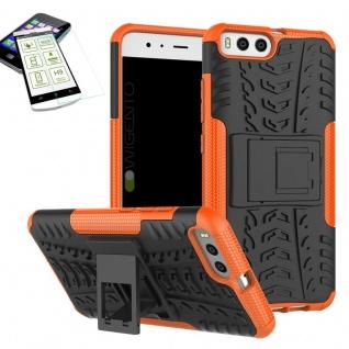 Hybrid Case Tasche Outdoor 2teilig Orange für Xiaomi Mi6 Hülle + Hartglas Etui