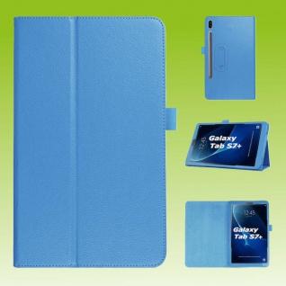 Für Samsung Galaxy Tab S7 Plus / S7 FE Hell Blau Kunst Leder Hülle Tablet Tasche Etuis