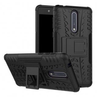 Hybrid Case 2teilig Outdoor Schwarz Tasche Hülle für Nokia 8 Schutz Etui Cover