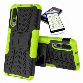 Für Huawei P20 Pro Hybrid Case Tasche Outdoor 2teilig Grün Hülle + H9 Glas Cover