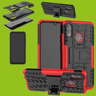 Für Huawei P Smart / Plus 2019 Hybrid 2teilig Outdoor Rot Tasche Cover Etuis Neu