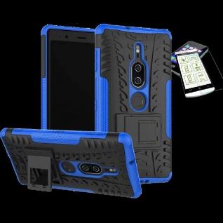 Für Sony Xperia XZ2 Premium Hybrid Case 2 teilig Blau Hülle + H9 Glas Tasche Neu