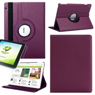 Für Huawei MediaPad M5 Lite Lila 360 Grad Etuis Tasche Kunst Leder + H9 Glas Neu