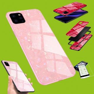 Für Apple iPhone 11 Pro Max Color Effekt Pink Tasche Hülle Etuis + Hart Glas Neu