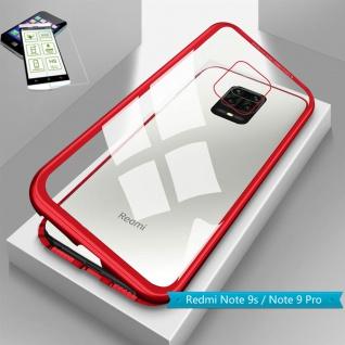 Für Xiaomi Redmi Note 9S Magnet Handy Tasche Hülle Rot Transparent + H9 Glas Neu
