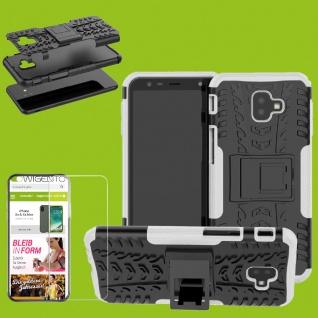 Für Samsung Galaxy J6 Plus J610F Hybrid Tasche Outdoor 2teilig Weiß + H9 Glas