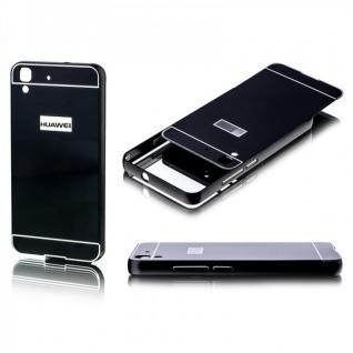 Alu Bumper 2 teilig mit Abdeckung Schwarz für Huawei Y6 Tasche Hülle Case Cover