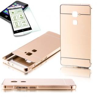 Alu Bumper 2 teilig Gold + 0, 3 mm H9 Hartglas für Huawei Mate S 5.5 Tasche