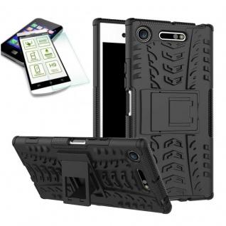 Hybrid Case 2 teilig Schwarz für Sony Xperia XZ1 + 0, 3 mm H9 Hartglas Tasche - Vorschau 2