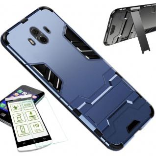 Für Huawei P Smart Plus Tasche Metal Style Hybrid Hülle Dunkelblau + H9 Glas Neu