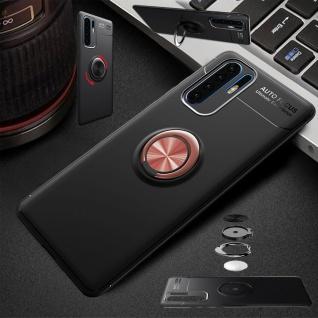 Für Huawei P30 Lite Magnet Metall Ring ultra dünn Schwarz / Pink Tasche Etuis