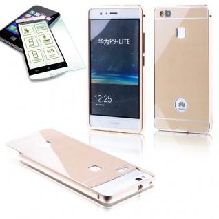 Alu Bumper 2 teilig Gold + 0, 3 H9 Hartglas für Huawei P9 Lite Tasche Hülle Neu
