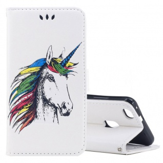 Tasche Wallet Einhorn Weiß für Huawei P10 Lite Hülle Case Cover Etui Schutz Neu