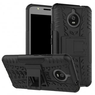 Hybrid Case 2teilig Outdoor Schwarz Tasche Hülle für Motorola Moto E4 Plus Cover