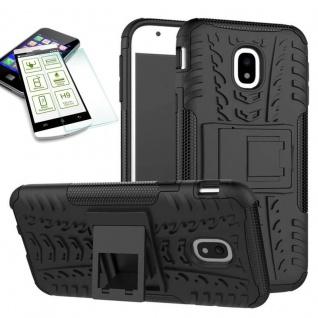 Hybrid Case Tasche 2teilig Schwarz für Samsung Galaxy J7 2017 J730F + H9 Glas