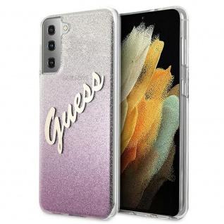 Guess Gradient Script Samsung Galaxy S21 G991B Pink Glitter Case Cover Hülle