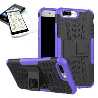 Hybrid Case Tasche Outdoor 2teilig Lila für ONEPlus 5 Hülle + Hartglas Etui