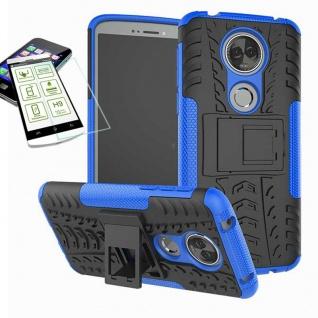 Für Motorola Moto E5 Plus Hybrid Tasche Outdoor 2teilig Blau Hülle + H9 Glas Neu