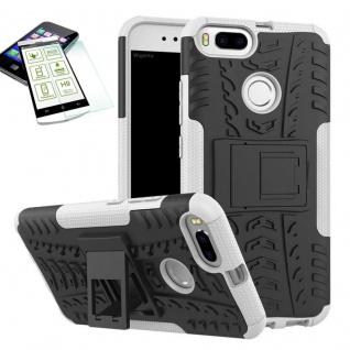 Hybrid Tasche Outdoor 2teilig Weiß für Xiaomi Mi 5X Mi A1 Hülle Hartglas Case