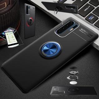 Für Samsung Galaxy A40 Magnet Metall Ring Tasche Schwarz / Blau + H9 Glas Etuis